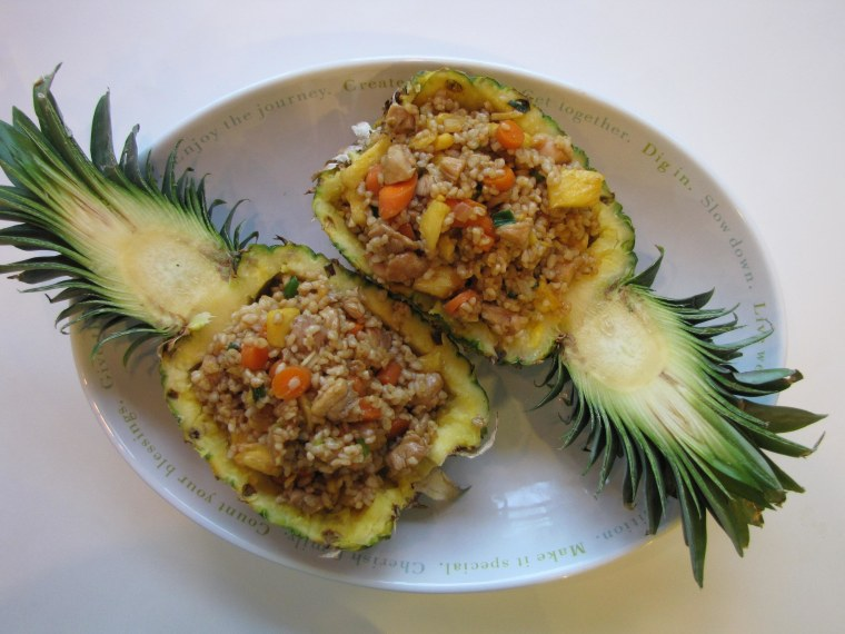Sharon Wong shares her nut-free, easy recipe for chicken pineapple fried rice.