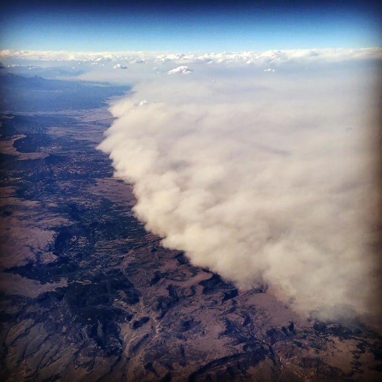 A dust storm seen from a plane passing over Colorado on Monday. Passenger Amanda Wicks took the photo during a flight from Los Angeles to Chicago.