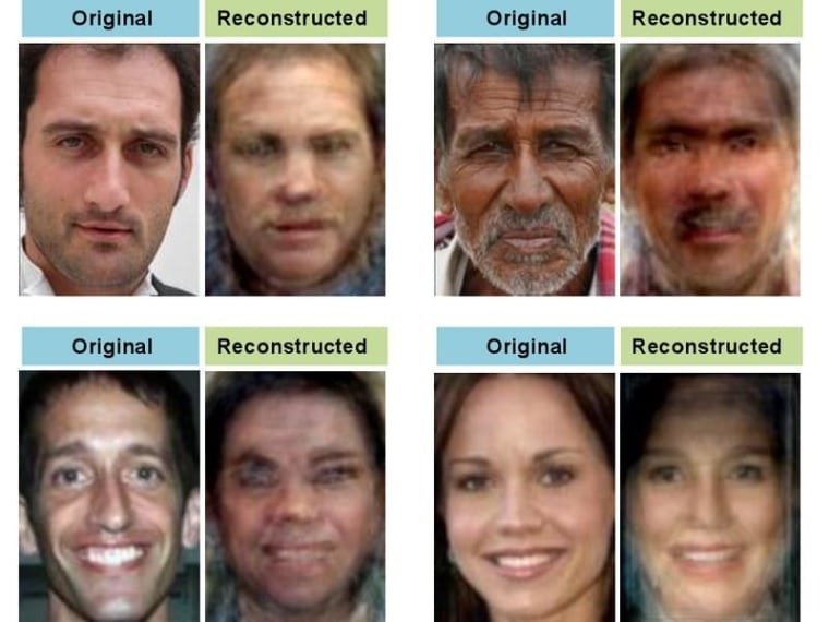 Face images shown to participants in a recent study by Berkeley's Alan Cowen, and the reconstructed versions based on MRI readings.