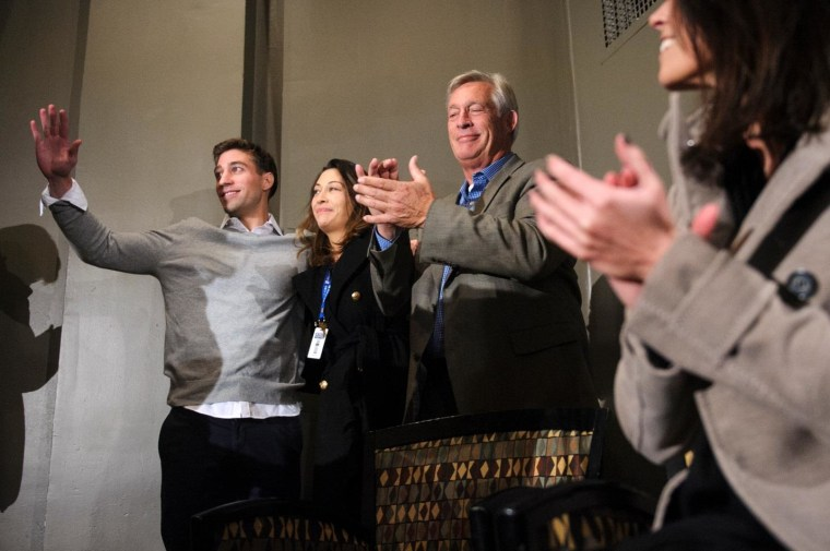 Ryan Ferguson with his sister, Kelly, and father, Bill, after his Nov. 2013 release from prison.