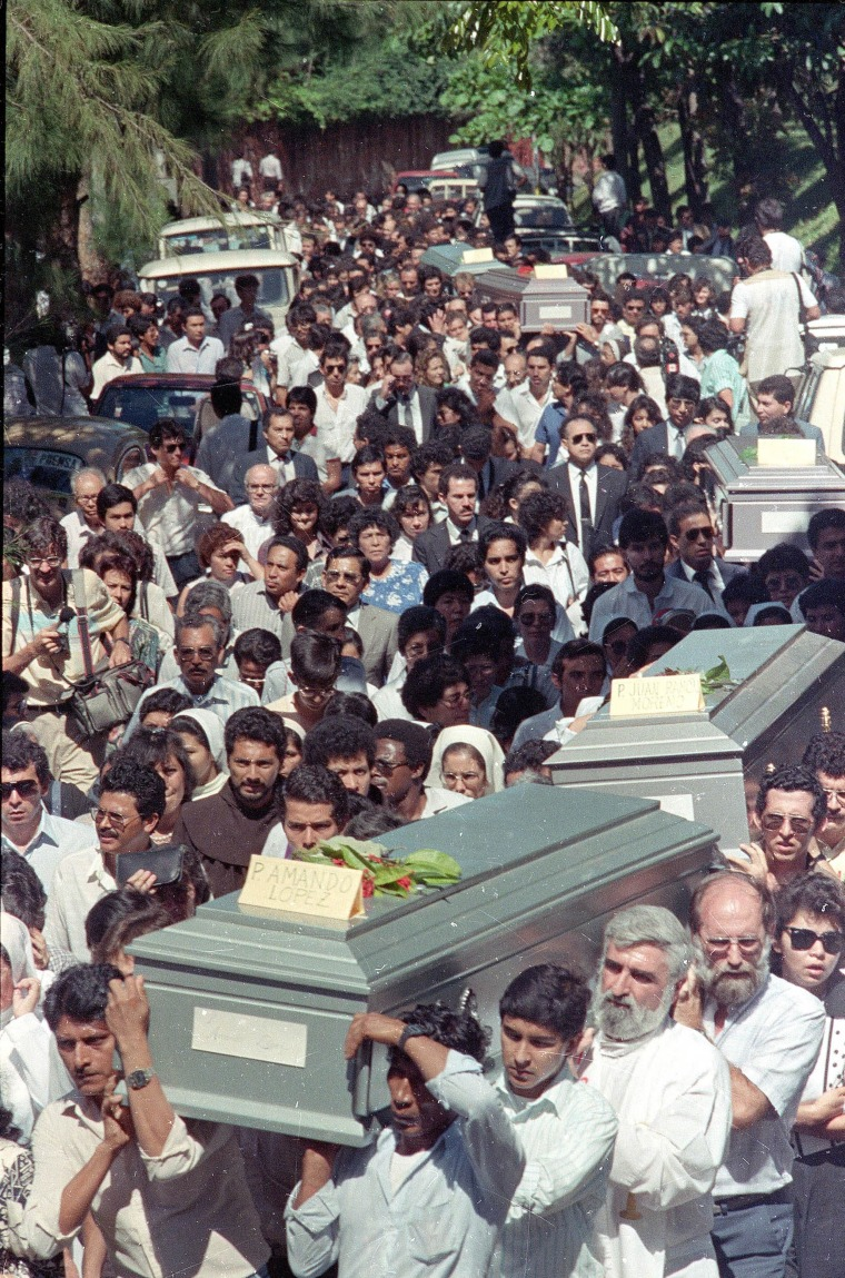 The funeral procession of six Jesuit priests slain by Salvadoran military, in San Salvador, El Salvador on Nov. 19, 1989.