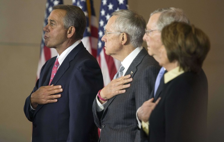 House Speaker John Boehner (R-OH) (L-R), Senate Majority Leader Harry Reid (D-NV), Senate Minority Leader Mitch McConnell (R-KY) and House Minority Leader Nancy Pelosi (D-CA) stand for the National Anthem during a ceremony to present a Congressional Gold Medal in honor of the Fallen Heroes of 9/11 on Capitol Hill in Washington September 10, 2014. The three gold medals will be provided to the Flight 93 National Memorial in Pennsylvania, one going to the National September 11 Memorial and Museum in New York, and one going to the Pentagon Memorial at the Pentagon.     REUTERS/Joshua Roberts    (UNITED STATES - Tags: POLITICS DISASTER ANNIVERSARY)