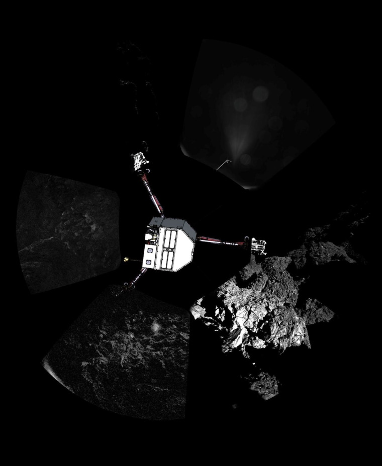 Rosetta's lander Philae has returned the first panoramic image from the surface of a comet. The view, captured by the CIVA-P imaging system, shows a 360º view around the point of final touchdown. Superimposed on top of the image is a sketch of the Philae lander in the configuration the lander team currently believe it is in.