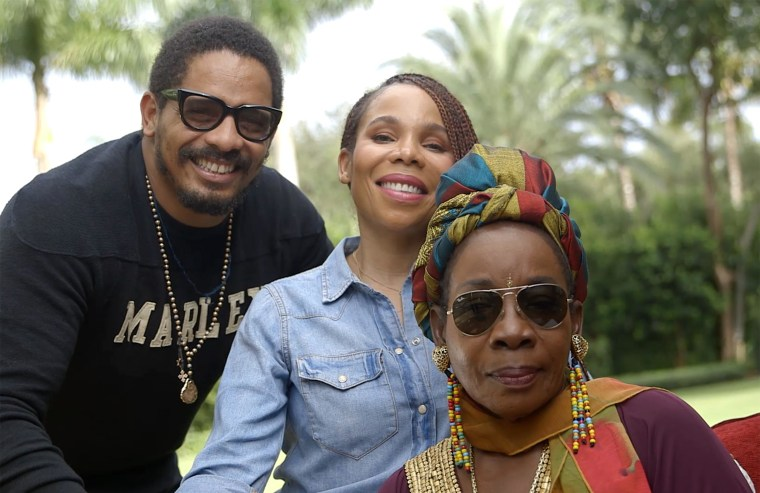 Members of Bob Marley's family, Rohan, Cedella and Rita Marley.