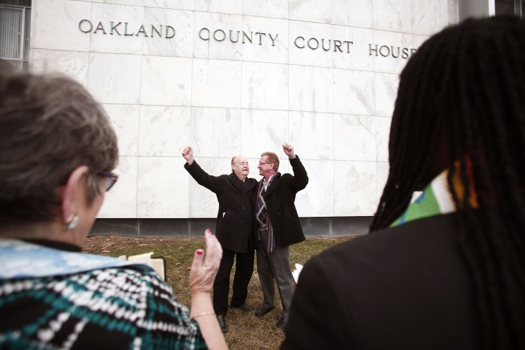 Image: Same Sex Couples Receive Marriage Licenses Day After Judge Strikes Down State's Ban On Gay Marriages