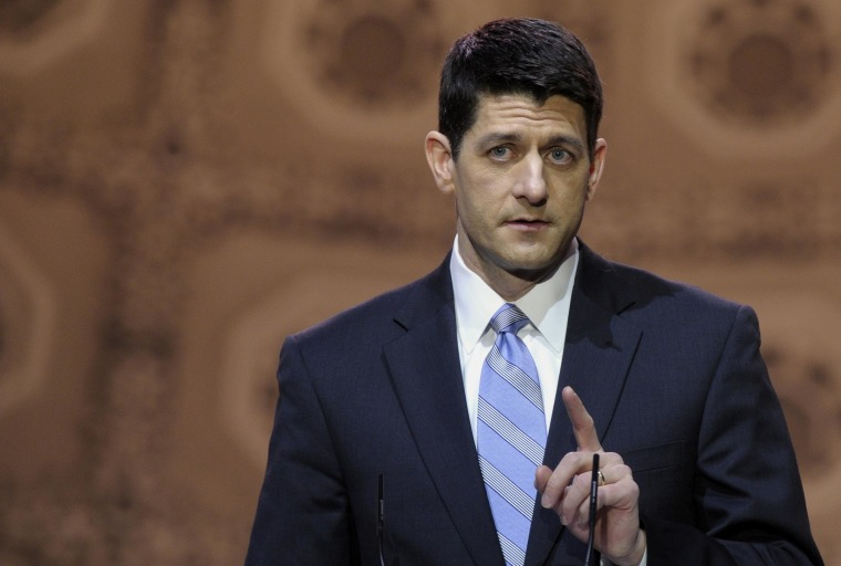 "House Budget Committee Chairman Rep. Paul Ryan, R-Wis. speaks at the Conservative Political Action Committee annual conference in National Harbor, Md., Thursday, March 6, 2014. Ryan said GOP leaders and conservative activists should ""give each other the benefit of the doubt"" in the debate over the party's future. (AP Photo/Susan Walsh)"
