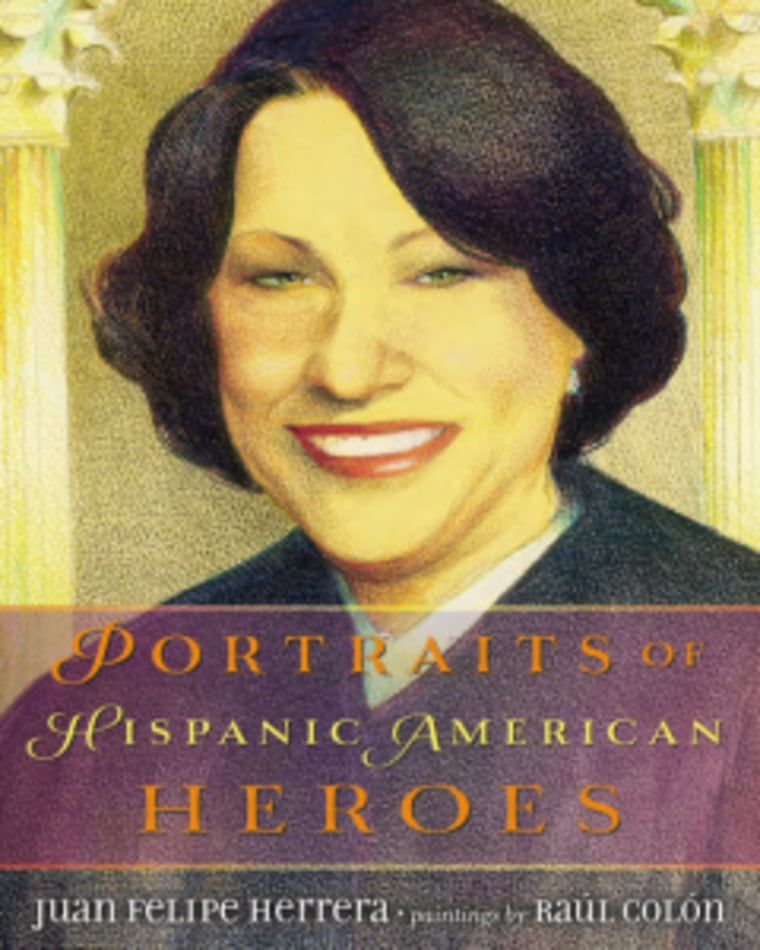 Book cover, Portraits of Hispanic American Heroes, by Felipe Herrera, illustrations by Raúl Colón.