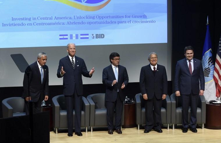 Image: Otto Perez Molina, Joe Biden, Luis Alberto Moreno, Salvador Sanchez Ceren, Juan Orlando Hernandez
