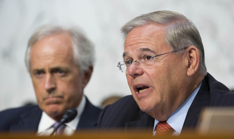 Image: Chairman of the Senate Foreign Affairs Committee Robert Menendez (D-NJ) questions Secretary of State John Kerry on Capitol Hill in Washington