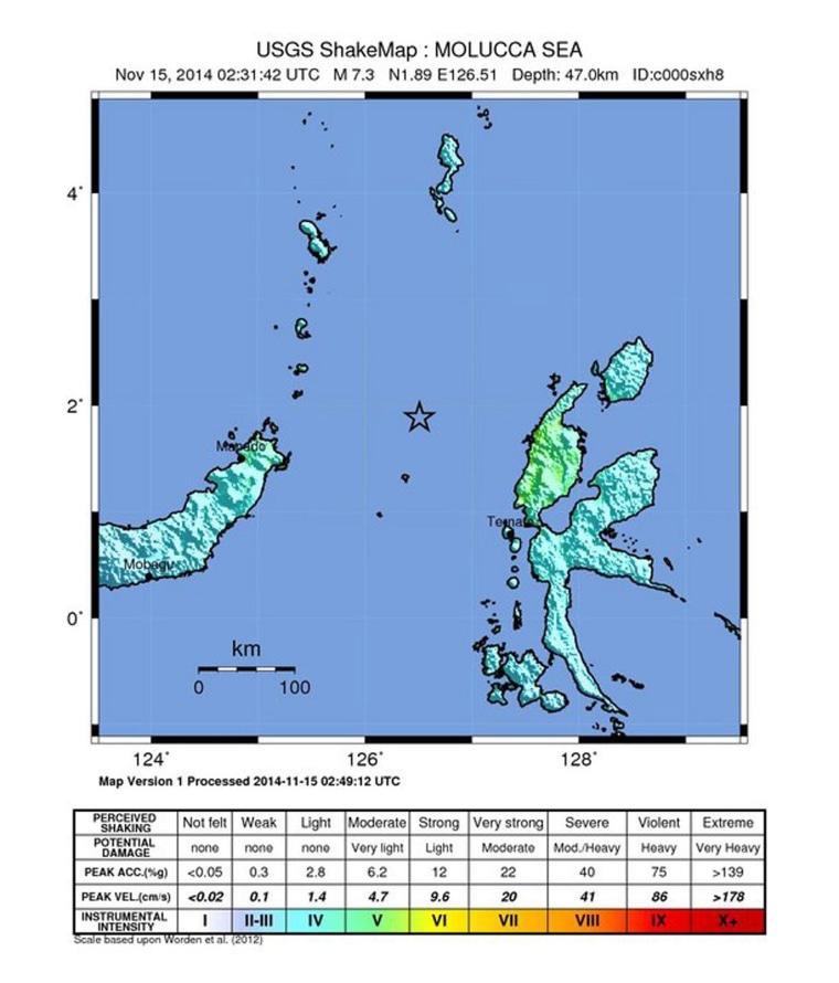 Image: 7.3 magnitude earthquake hits Indonesia's Northern Molucca Sea