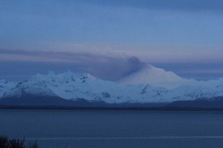 Pavlof in eruption as viewed from Cold Bay on the evening of Nov. 12.
