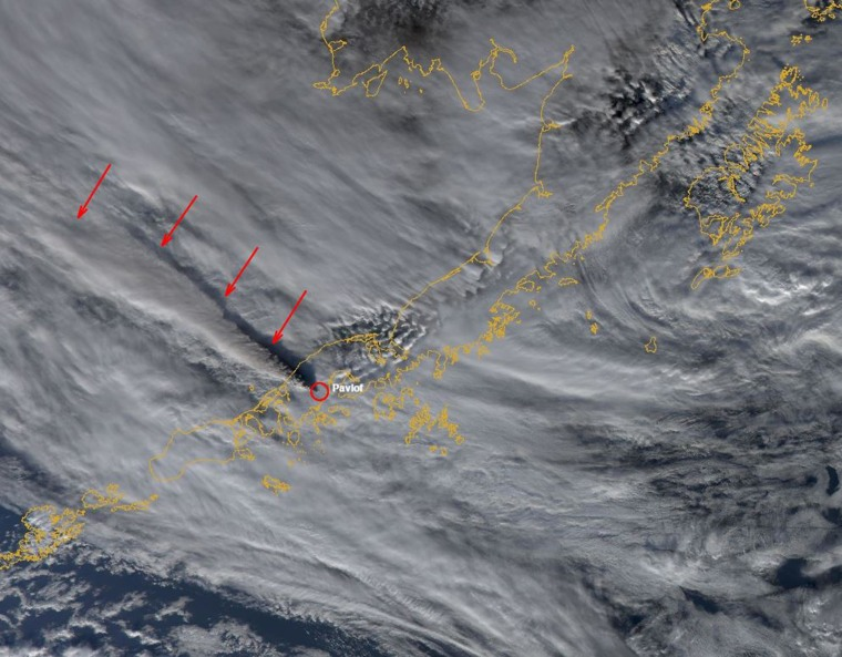 MODIS satellite image showing the volcanic ash cloud from the eruption of Pavlof Volcano. The cloud extends for more 250 miles from the volcano at an estimate height of at least 35,000 ft above sea level.