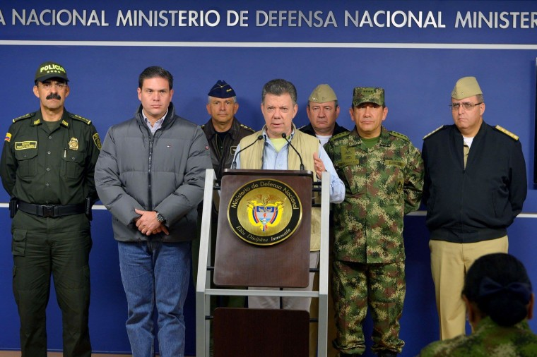 Image: Colombia's President Juan Manuel Santos speaks during a news conference in Bogota