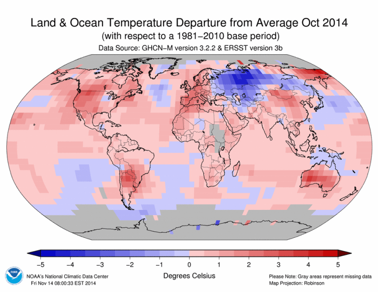 Image: Land and ocean temperature departures for October 2014