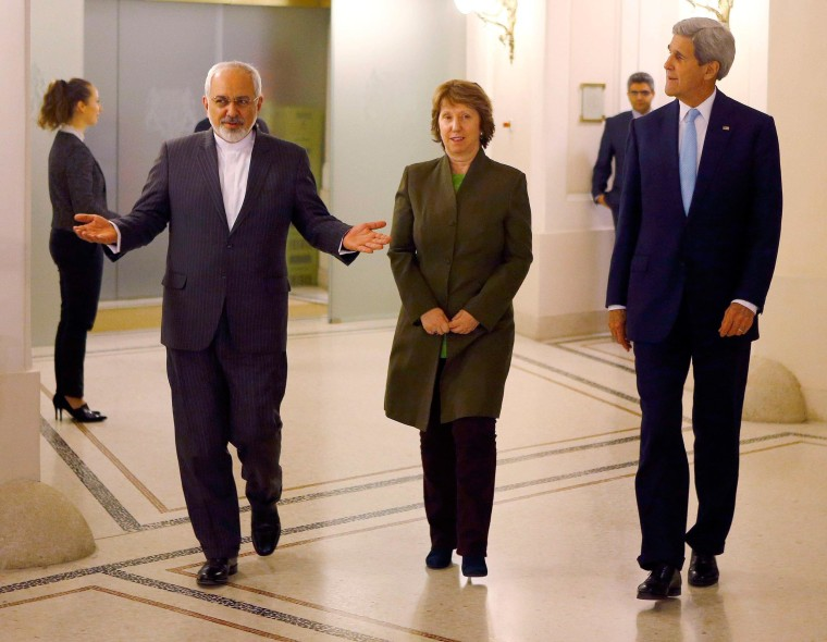 Image: U.S. Secretary of State Kerry, Iranian Foreign Minister Zarif and EU envoy Ashton arrive for a meeting in Vienna
