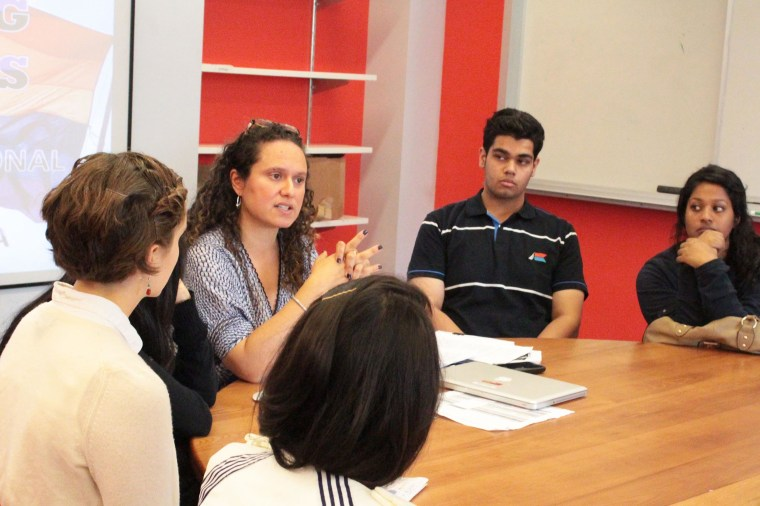 Ileana Jimenez, or Feminist Teacher as she calls herself, is seen here teaching a class at LREI School in New York City.