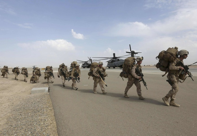 Image: U.S. Marines prepare to depart upon the end of operations for Marines and British combat troops in Helmand