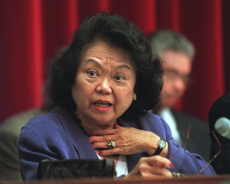 Rep. Patsy Mink, D-Hawaii, takes part in a hearing of the House Education and the Workforce Committee hearing on the whether to issue subpoenas on the 1996 Teamsters elections.