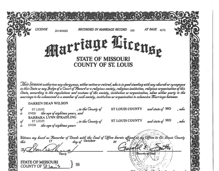 Image: Darren Wilson's Marriage Licence