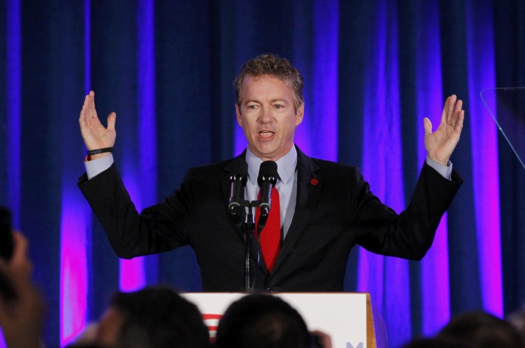 Image: Senator Rand Paul addresses the crowd at U.S. Senate Minority Leader Mitch McConnell's midterm election night rally in Louisville