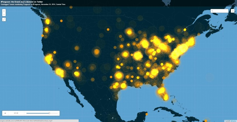 "A heat map of the U.S. shows geotagged Twitter mentions of ""Ferguson"" or ""#Ferguson"" increase during the evening of Nov. 24, 2014."