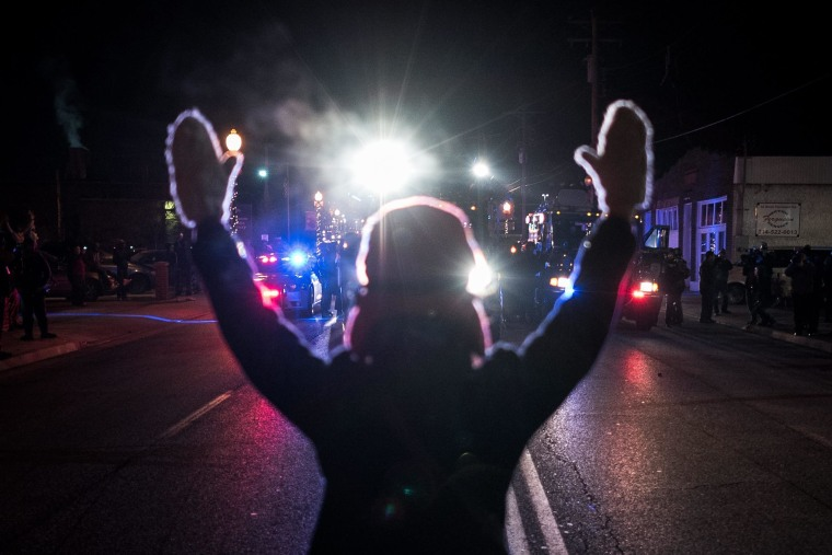 Image: Reaction to grand jury decision on the Michael Brown shooting