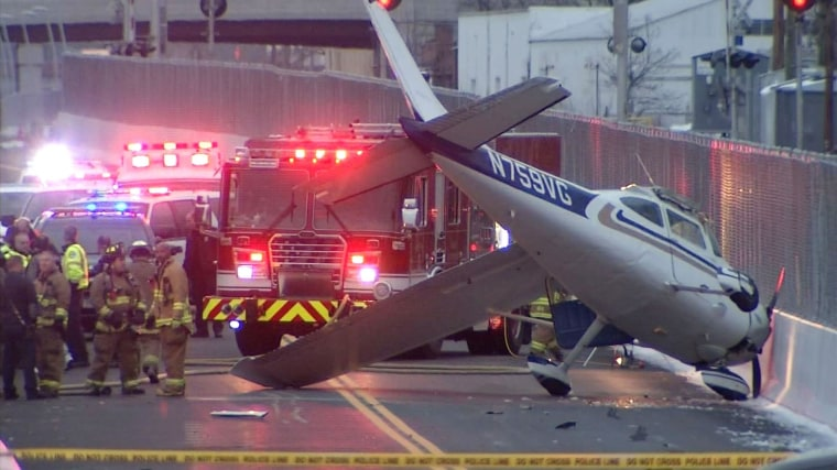 A single engine plane that landed on a bus-only roadway in West Hartford