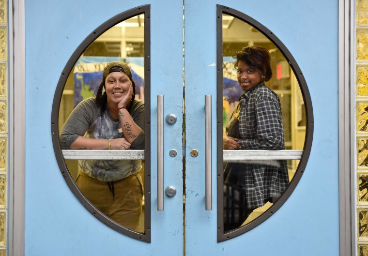 Image: Elizabeth Olivero, left,with Shatiera Freeman at The Door, a New York City non-profit serving youth