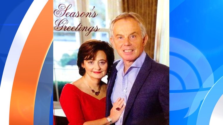 Tony Blair's 2014 Christmas card photo has gone viral.