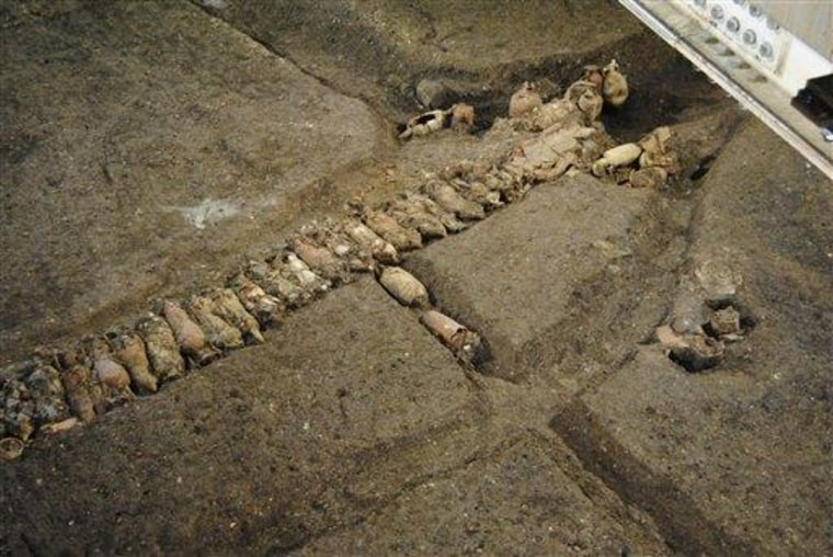 Image: Ancient amphoras discovered during a subway construction in Rome