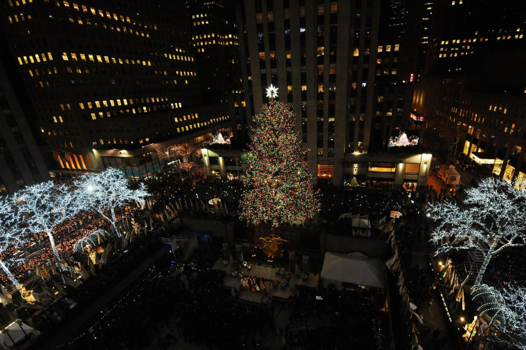 Rockefeller Center Tree Illuminated At Star-Studded Ceremony