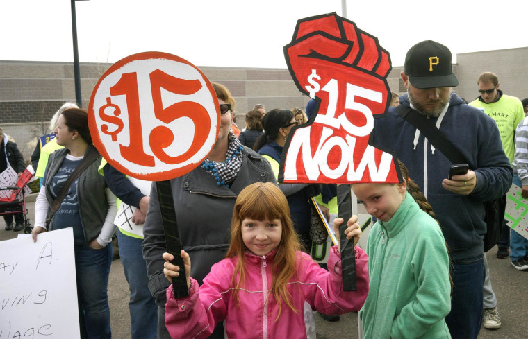 Workers in the fast-food, home care and airline industries are staging minimum wage protests and strikes throughout the U.S. on Thursday.