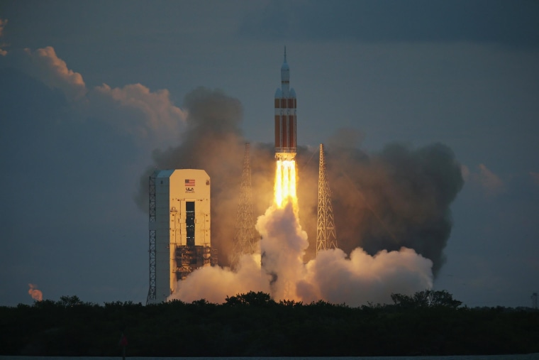 The United Launch Alliance Delta 4 rocket carrying NASA's first Orion deep space exploration craft takes off from its launchpad on Dec. 5, 2014 in Cape Canaveral, Fla.