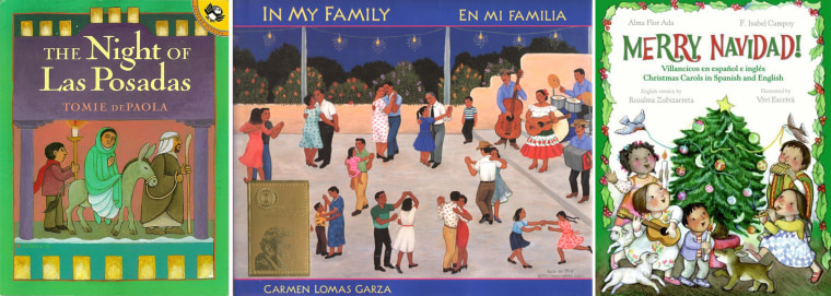 """Three Latino-holiday themed books to share with your child: """"The Night of Las Posadas"""" by Tomie dePaola, """"En Mi Familia/In My Family"""" by Carmen Garza and """"Merry Navidad! Villancicos en español e inglés/Christmas Carols in Spanish and English"""" by Alma Flor Ada and F. Isabel Campoy"""