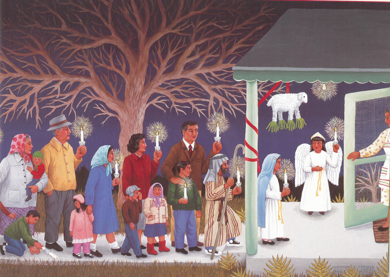 """Las Posadas"" from the book ""Family Pictures/Cuadros de familia"" by Carmen Lomas Garza, published by Lee & Low Books."