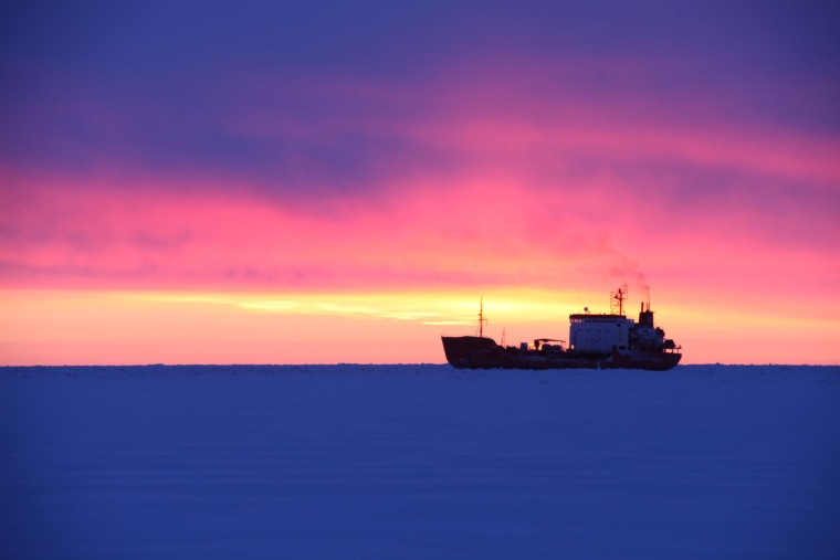 The Russian tanker Renda is seen off Nome, Alaska, on January 18, 2012, after delivering fuel oil there.