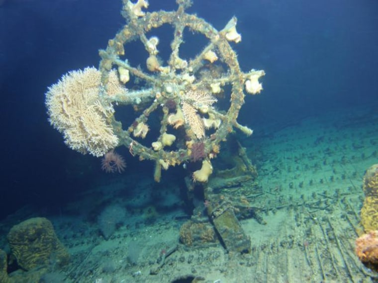 Image: Wheel of U.S.S. Kailua, a cable repair ship that was torpedoed in 1946