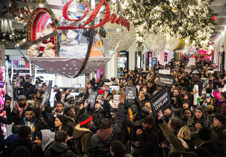Demonstrators storm the Macy's on 34th Street protesting the Staten Island, New York grand jury's decision not to indict a police officer involved in the chokehold death of Eric Garner in July on Dec. 5, in New York City.  The grand jury declined to indict New York City Police Officer Daniel Pantaleo in Garner's death.