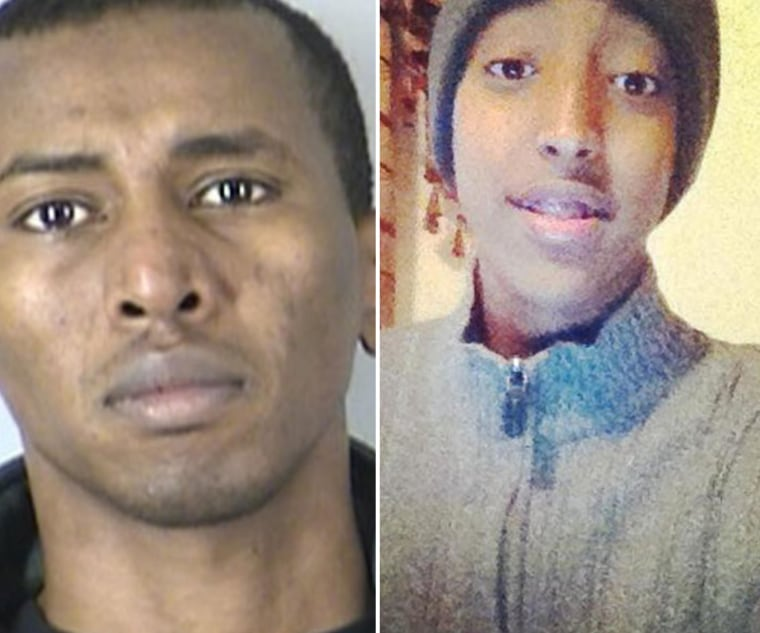 Ahmed Aden, 34, left, accused of hitting 15-year-old Abdisamad Sheikh-Hussein, right, outside a mosque in Kansas City, Mo., on Dec. 4.