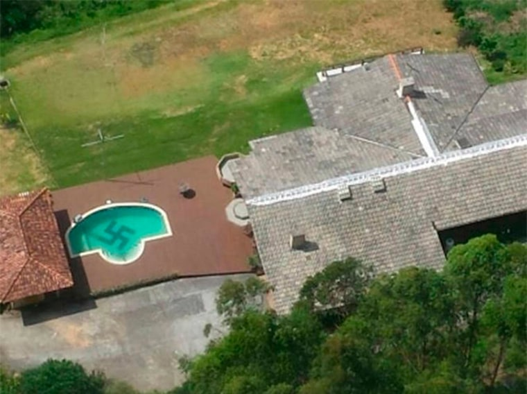 Image: A swastika is seen at the bottom of a swimming pool in Vale do Itajai in Santa Catarina state, Brazil.