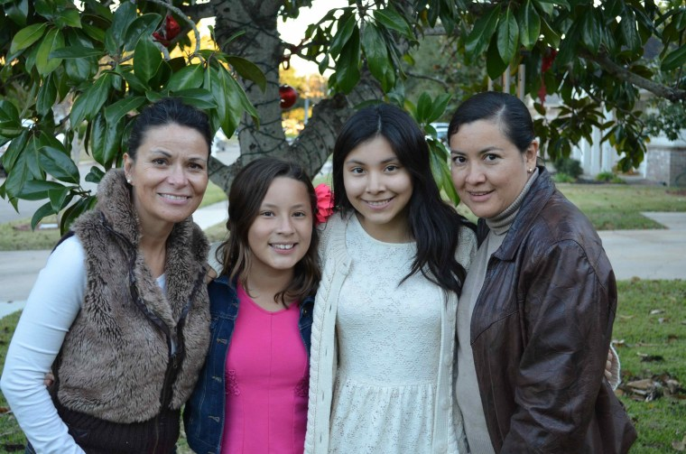 From left, NBC News contributor Claudia Deschamps with her daughter Martha Lopez and her niece Melanie Mendoza and her sister-in-law Maria Elena Lopez, who are visiting from Mexico.  Claudia loves having family visit, though it means a lot of trips to the shopping mall.