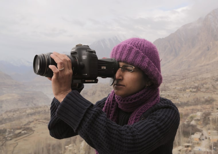 """Director Afia Nathaniel on location in Pakistan for her film, """"Dukhtar."""""""