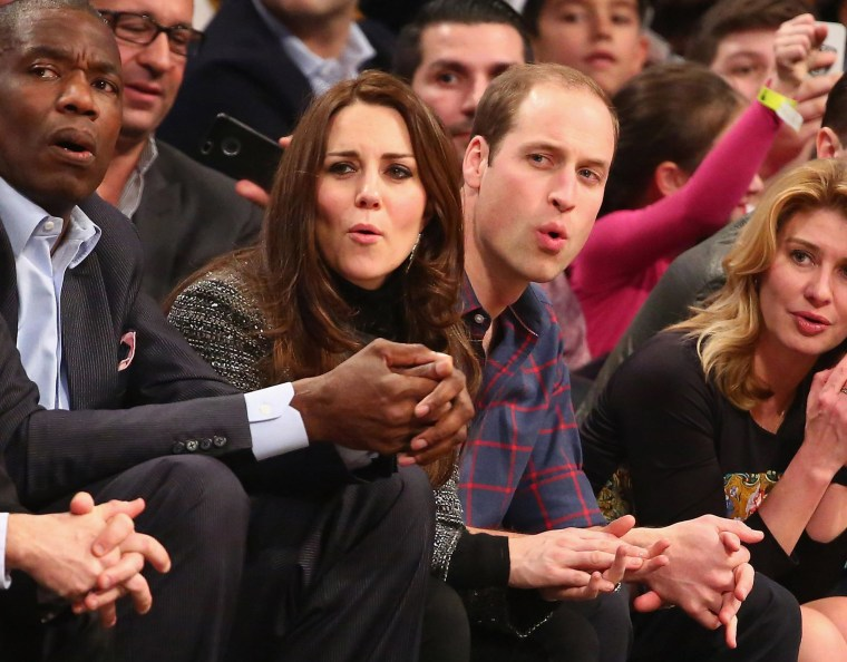 Image:  Prince William, Duke of Cambridge and Catherine, Duchess of Cambridge watch the game between the Cleveland Cavaliers and the Brooklyn Nets