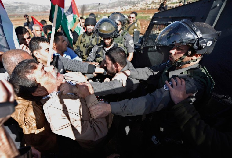 Image: Palestinian minister Ziad Abu Ein scuffles with an Israeli border policeman near the West Bank city of Ramallah