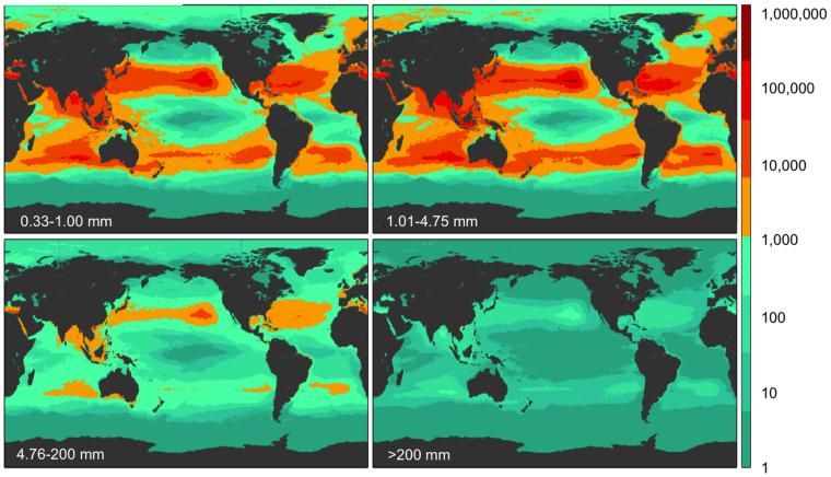 Image: Density of plastic sizes across the world's oceans