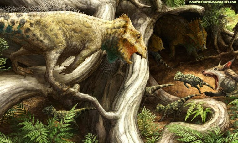 Image: Artist's conception of Aquilops americanus horned dinosaur