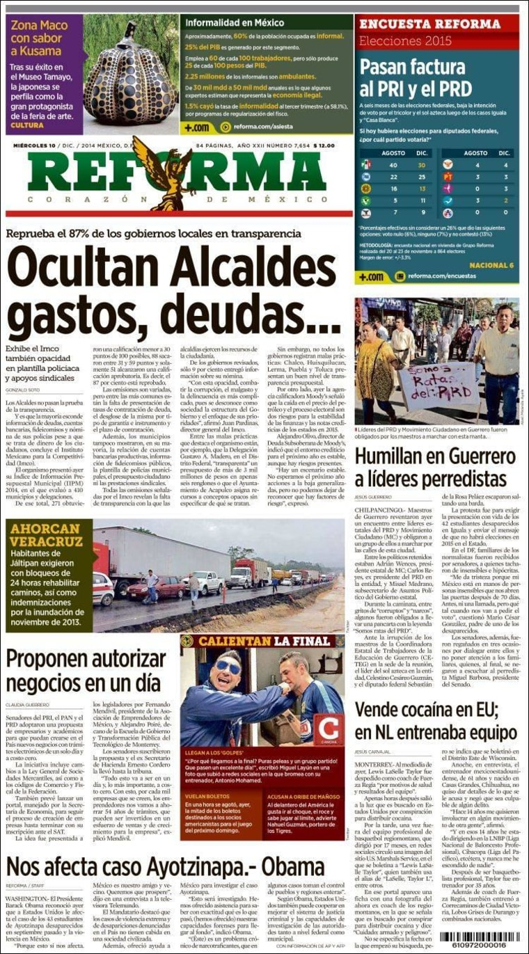 """Cover of Mexico's """"Reforma"""" newspaper, December 10, 2014"""