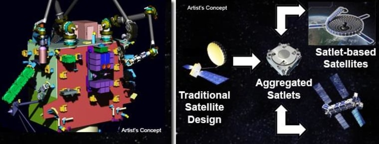 "DARPA artist's impression of how Phoenix Project ""satlets"" could combine or augment existing satellites."
