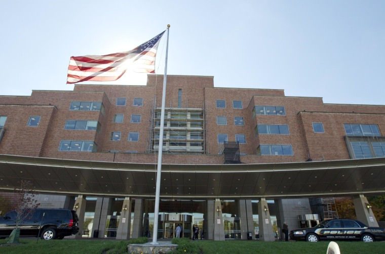 The National Institutes of Health Mark O. Hatfield Clinical Research Center where patients with Ebola are treated is seen here in Bethesda, Md. Friday, Oct. 17, 2014.