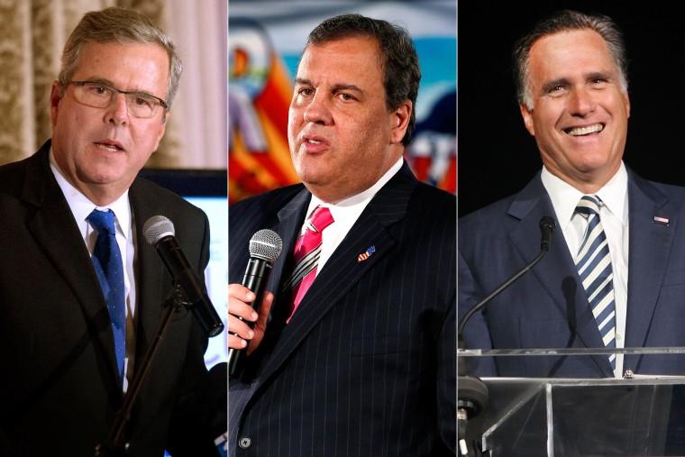 Image: Jeb Bush, Chris Christie and Mitt Romney